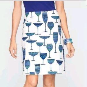 Talbots NWT wine martini glasses print blues 4P